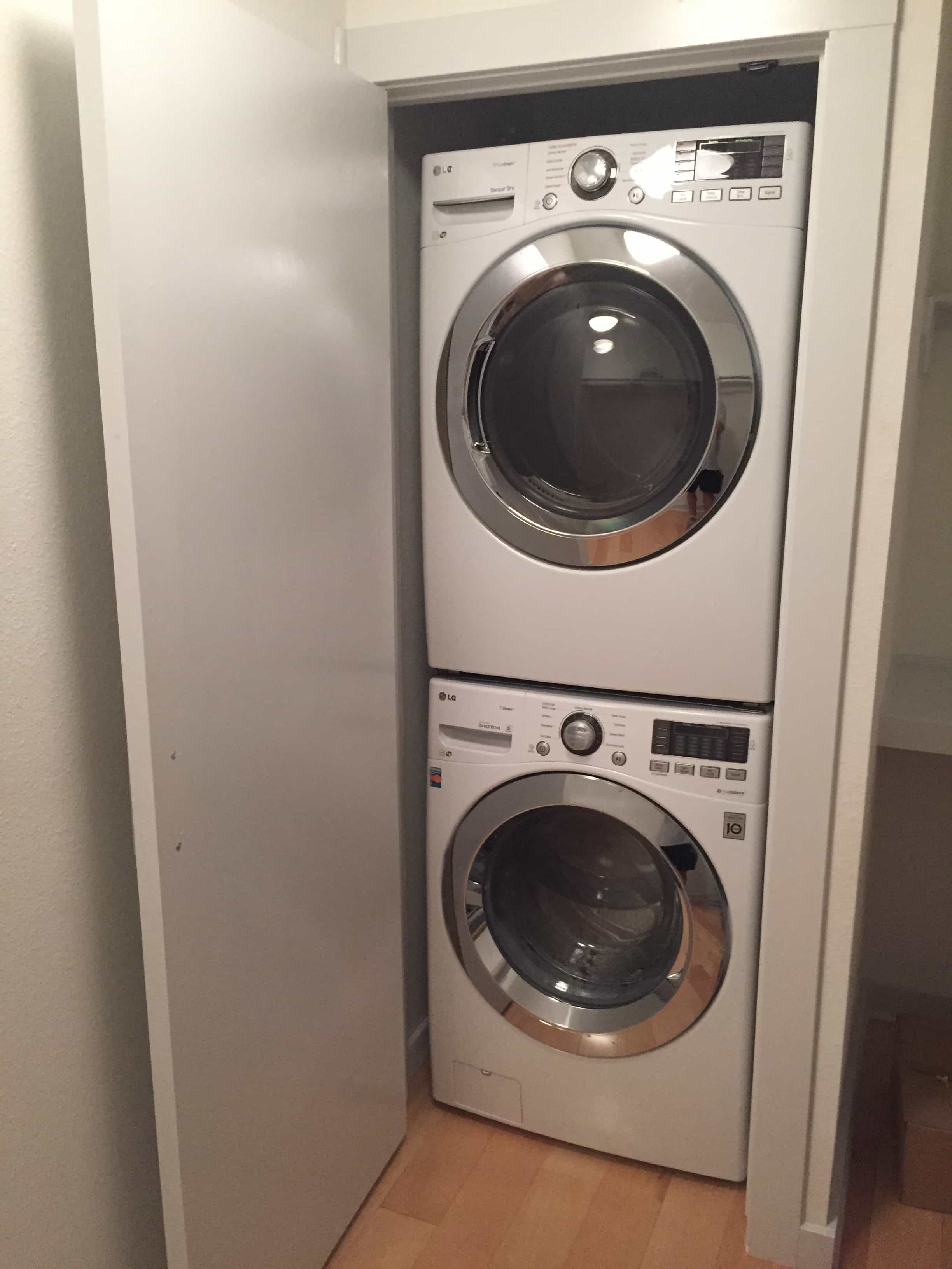 Space Saving Full-Size stackable washer and dryer